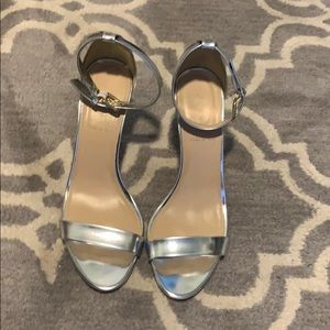 NWOB JCrew mirror metallic heel sandal silver
